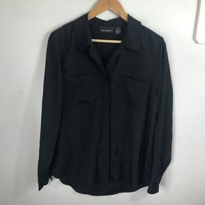 DKNY | Black Blouse with Cuffed Sleeves